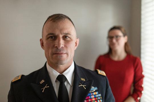 Portrait confident male soldier in military dress uniform
