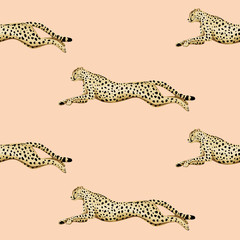 Rocznika działającego geparda wzoru menchii zwierzęcy bezszwowy tło. Tapeta egzotycznego safari. - 335399472