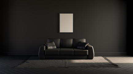 Single picture frame on a black wall in dark room  with a single sofa on a carpet. Black background. 3D rendering