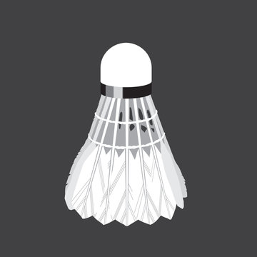 White feather badminton shuttlecock isolated in gray background. Stock vector Illustration in grayscale in flate style.