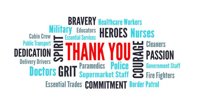 Thank you wordcloud for coronavirus covid-19 nurses and healthcare