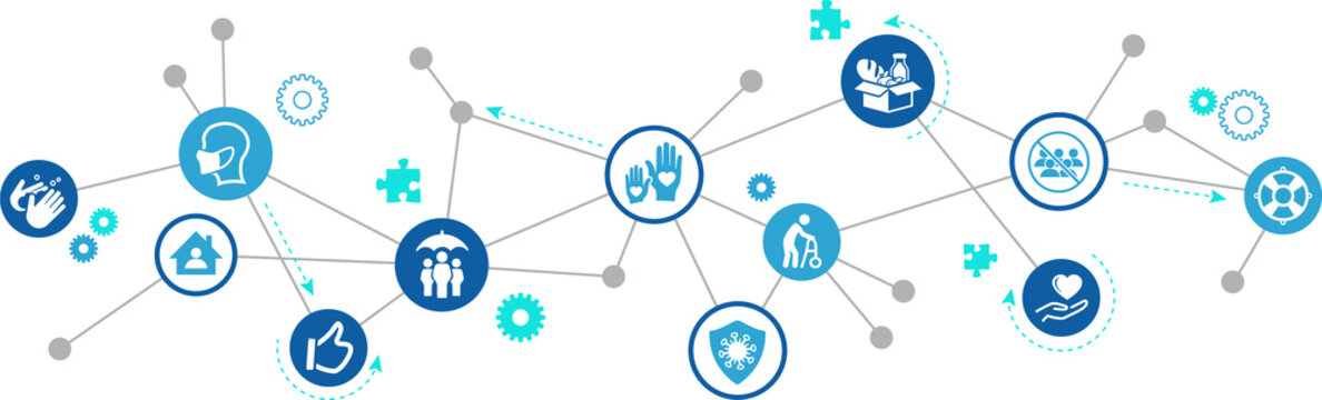 solidarity and support during corona outbreak vector illustration. Concept with connected icons related to covid lockdown help, social support, charity and assistance.