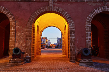 Canvas Prints Morocco Medina entrance tower and old city walls in Essaouira, Morocco