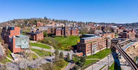 Aerial drone panoramic shot of the empty downtown campus of WVU in Morgantown West Virginia during the coronavirus shutdown Wall mural