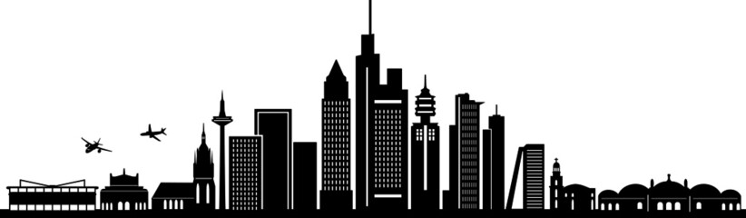 Fototapete - FRANKFURT MAIN City Skyline Silhouette Cityscape Vector