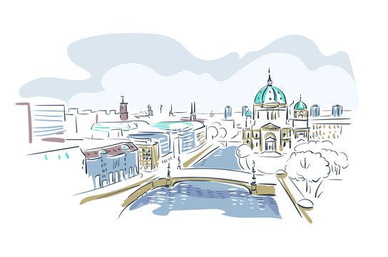 Berlin Germany Europe vector sketch city illustration line art