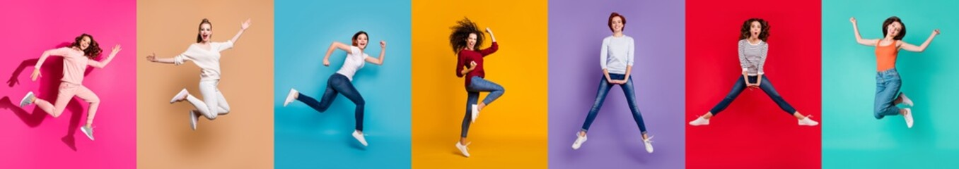 Motivation motion yes yeah concept. Full body collage of seven beautiful cheerful nice lucky different pretty ladies millennials in casual outfit jumping up isolated over multicolored background Fotobehang