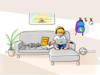 digitales Lernen, Schule zu Hause, Schüler Junge sitzt gemütlich barfuß mit Laptop auf Couch und lernt, Ohrhörer auf lächelt. Katze schläft, im Haus bleiben Pandemie Coronavirus Corvid-19 Virus