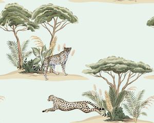 Vintage savanna island, plant, acacia tree, cheetah running, leopard animal floral seamless pattern blue background. Exotic safari wallpaper.