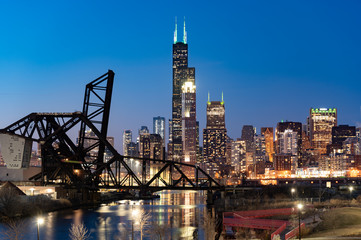 Wall Mural - Chicago city night