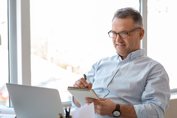 Mature man using laptop at home