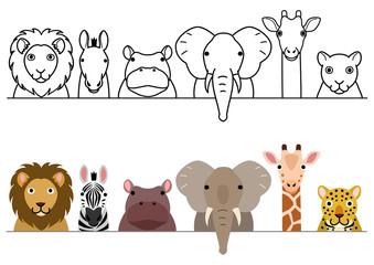 cute cartoon safari animals border set