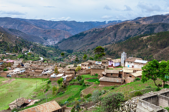 Panoramic view of Tarmatambo town with the mountains in the background in Tarma, Junin Region, Peru
