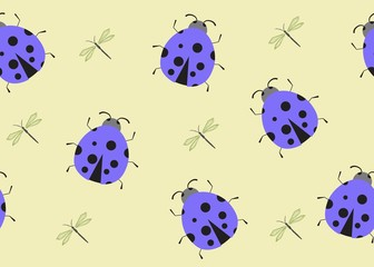 Keuken foto achterwand Lieveheersbeestjes Seamless Pattern Floral Illustration