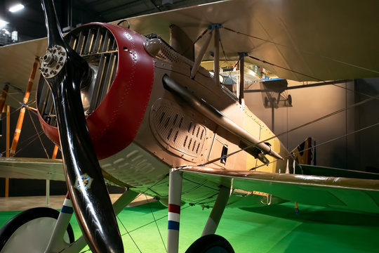 World War One biplane fighter historical. National Museum of the United States Air Force. Wright Patterson Air Force Base. Largest military aviation museum in world, more than 360 aircraft.