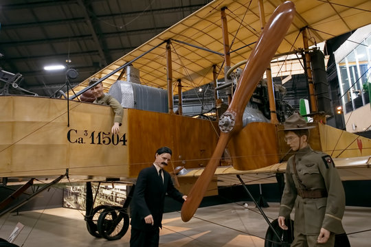 World War One biplane pilot and support. National Museum of the United States Air Force. Wright Patterson Air Force Base. Largest military aviation museum in world, more than 360 aircraft.