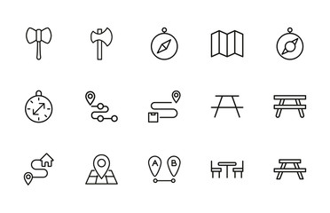 Big set of camping line icons.