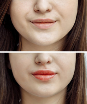 Photo comparison before and after permanent makeup, tattooing of lips