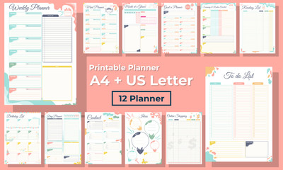 Minimalist diary, daily, monthly and weekly planner pages design collection set of vector template