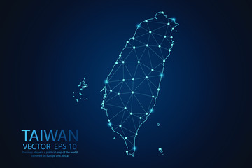 Abstract mash line and point scales on dark background with map of Taiwan. Wire frame 3D mesh polygonal network line, design sphere, dot and structure. Vector illustration eps 10.
