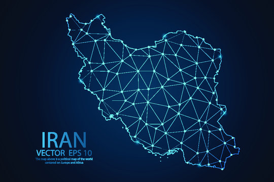 Abstract mash line and point scales on dark background with map of Iran. Wire frame 3D mesh polygonal network line, design sphere, dot and structure. Vector illustration eps 10.