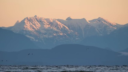 Fototapete - Slow motion snow covered mountain behind ocean with birds flying