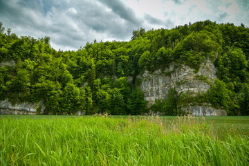 Wall Mural - Steep cliffs above the Wichelsee lake close to Luzern