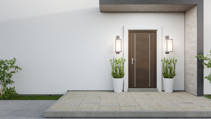 New house with wooden door and empty white wall. 3d rendering of large patio in modern home. Wall mural