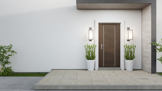 New house with wooden door and empty white wall. 3d rendering of large patio in modern home.