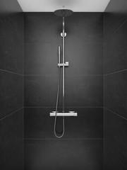 SHower in modern shower room, Modern design of bathroom. - 3d rendering