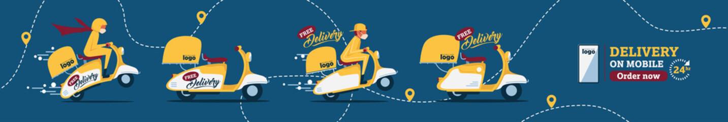 Vector The food delivery man ride yellow scooter to deliver food.Instagram Posts Featuring Food Delivery.Online Delivery Service Web Banner.E-commerce concept.