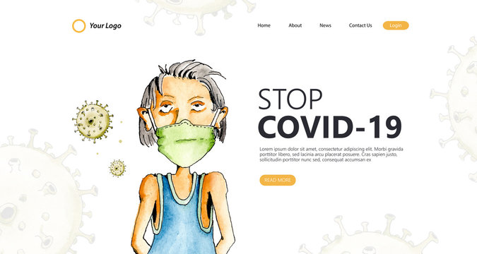 Stop coronavirus landing page in illustration watercolor concept