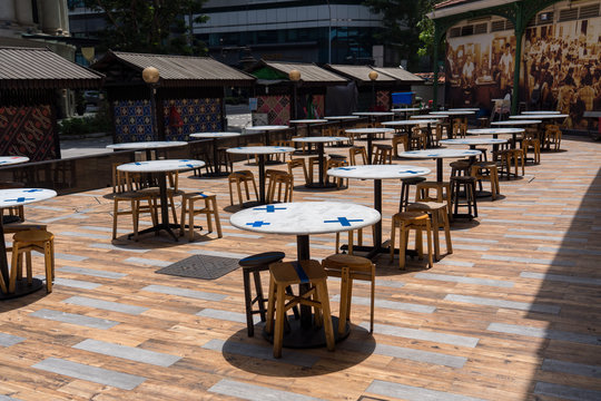 Marked stalls for social distancing at Hawker center, Singapore
