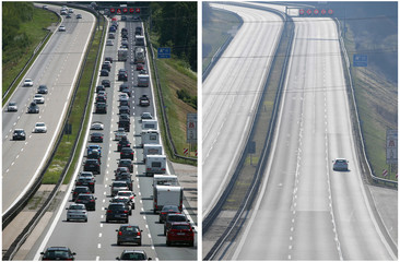 A combination picture shows a car on the motorway A8 between Salzburg and Munich and the same spot with a traffic jam near Irschenberg