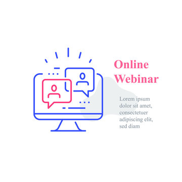 Webinar concept, online course, distant education, video lecture, internet group conference