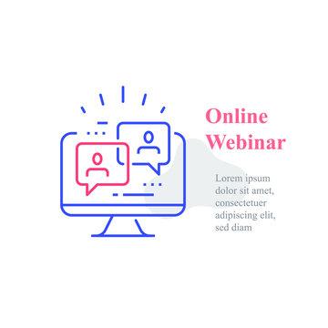 Webinar concept, online course, distant education, video lecture, internet group conference
