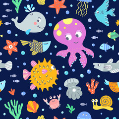 Seamless underwater life pattern. Vector background with different sea and ocean animals and fishes. Colorful aquatic repeat digital paper