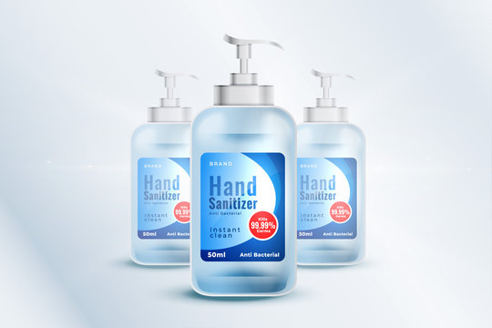 hand sanitizer bottle container mockup template in realistic style