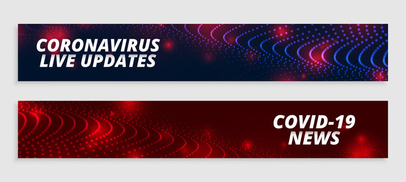 coronavirus live updates and news wide banners set