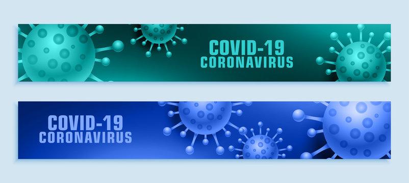 coronavirus pandemic covid-19 outbreak wide banner set
