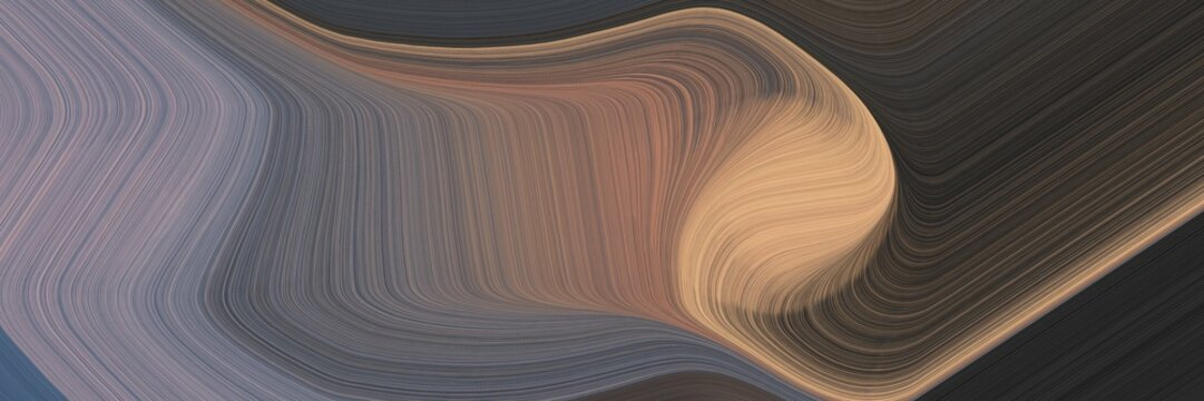 abstract dynamic curved lines surreal horizontal header with dark slate gray, dim gray and rosy brown colors. elegant curved lines with fluid flowing waves and curves