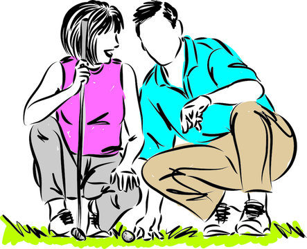 couple man and woman playing golf vector illustration