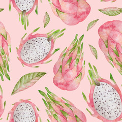 Watercolor seamless pattern with pink dragon fruit. Background with sliced and whole pitaya for covers, children textile, wrapping, summer decoration