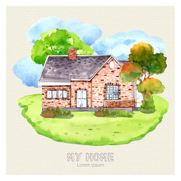 Watercolor painting my interior house