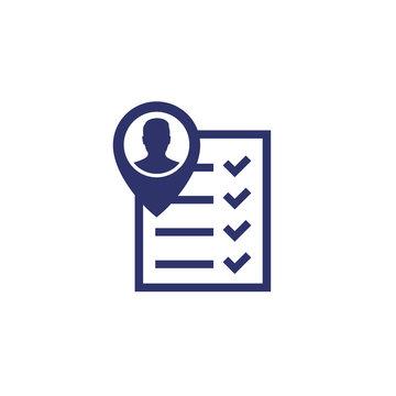 qualification icon, man and checklist