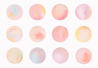 hand paint watercolor circle spots
