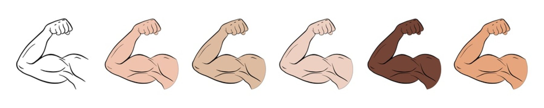 Biceps outline vector icon. Big bicep muscle. Isolated vector illustration icons set