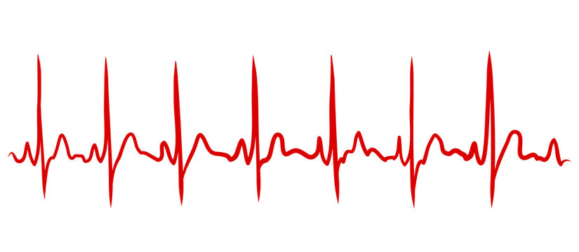 Heartbeat continuous line drawn by hand in red color. Medical vector illustration. Heart pulse cardiogram, medical background. Digital painting doodle style in vector EPS 10