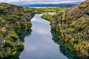 Silfra divergent tectonic drift in Thingvellir, Sudurland, Iceland
