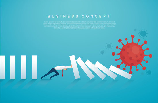 businessman stopping the domino effect from Coronavirus  (COVID-19) vector illustration, EPS10